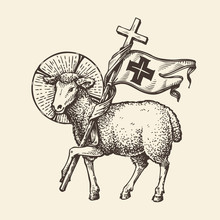 Lamb Or Sheep Holding Cross. Religious Symbol. Sketch Vector