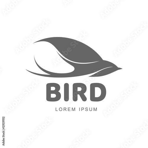 stylized swallow silhouette logo template vector illustration isolated on white background abstract black and white swallow logo design as symbol of hope peace spring care buy this stock vector and explore stylized swallow silhouette logo
