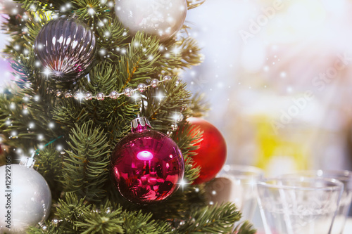 Fototapety, obrazy: Christmas background of de-focused lights with decorated tree