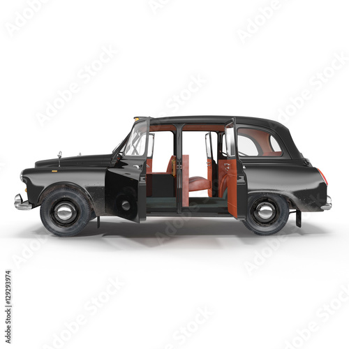 Side view hackney carriage on white Canvas Print