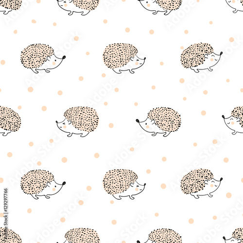 Seamless pattern with cute hand drawn hedgehogs Tableau sur Toile