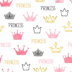 Fototapeta Little princess seamless pattern in pink and golden colors. Vector background with watercolor and glittering crowns