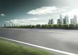 Motion blurred racetrack view on empty road asphalt