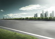 Motion blur cityscape and skyline in cloud sky on view from empt