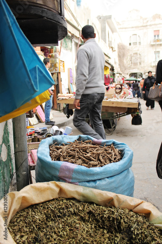 Bags of spices on the market in Tripoli, Libia - 25. march 2010