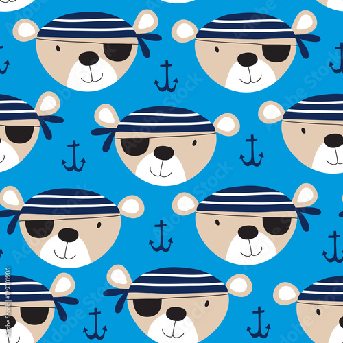 Cotton fabric seamless cute teddy bear pirate pattern vector illustration