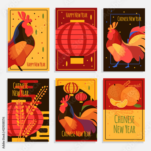 Chinese new year greeting cards cards and banners set with rooster chinese new year greeting cards cards and banners set with rooster chinese lantern and m4hsunfo