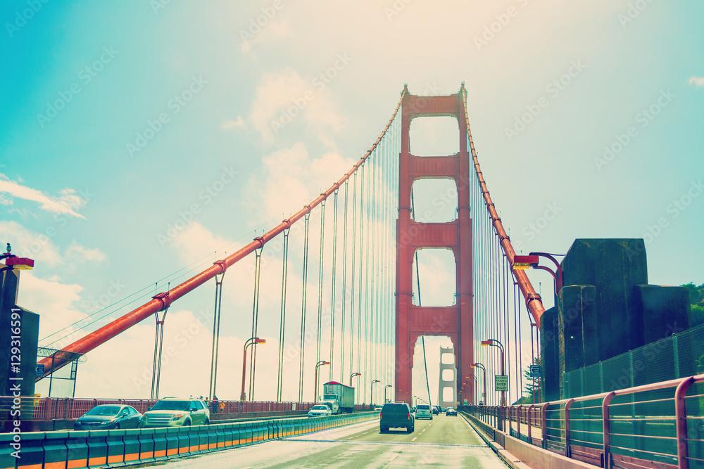 Driving southbound through Golden Gate bridge