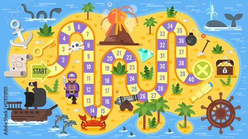 Plakat Wektorowa mieszkanie styl ilustracja dzieciaka pirata gra planszowa