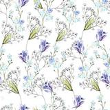 Piękny wzór akwarela z kwiatami, eustomiya, polne kwiaty. Ilustracje. - 129324929