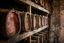 Vin Santo Dessert Wine Oak Barrels Aging In Wine Cellar