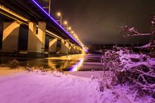Bridge At Night City At Winter Season