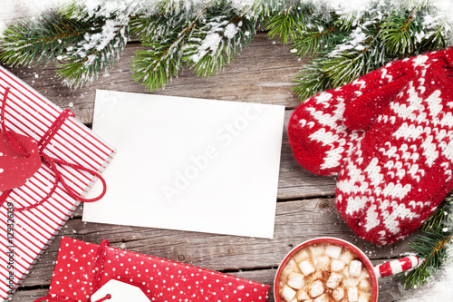 Spoed Foto op Canvas Chocolade Christmas greeting card, tree, mittens and hot chocolate