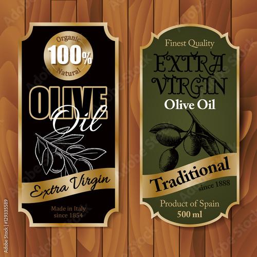 Fototapety, obrazy: Vintage olive oil labels on wooden background