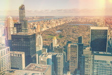 Manhattan - Aerial View Of Central Park And Office Skyscrapers,