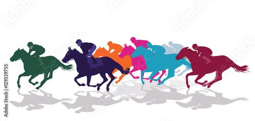 Tablou Canvas Jockeys mit Rennpferden