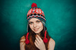 Woman in winter hat smiling