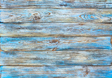 Old Blue Painted Grunge Wood Planks Background, Board Or Wooden Fence