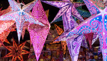 Stars Of Colored Paper To Hang For Christmas