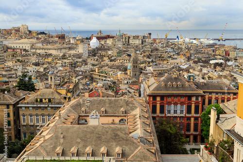 Fotografia  Genoa, Genova, Italy, view of the old city and port.