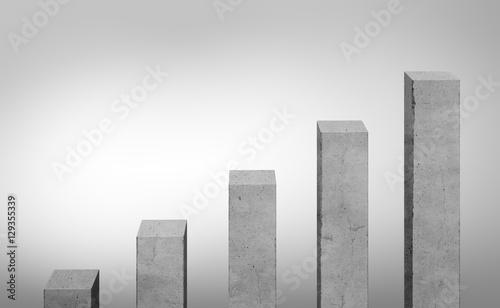 Fotografía  Concrete gray bars different size standing in ascending order