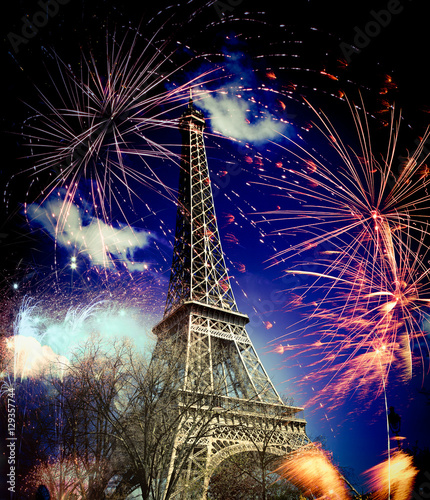 Photo Stands Eiffel Tower Eiffel tower (Paris, France) with fireworks
