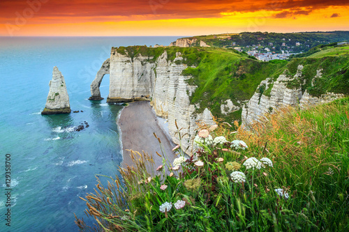 Poster Cote Magical natural rock arch wonder,Etretat,Normandy,France