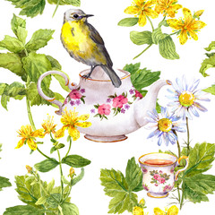 Fototapeta Do jadalni Herbal tea - pot, cup and bird. Repeating pattern. Watercolor