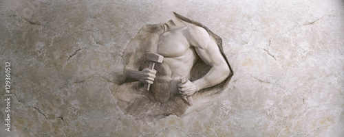 epic background of athletic man cuts his body of marble stone Fototapeta