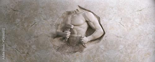 epic background of athletic man cuts his body of marble stone Slika na platnu