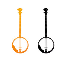 Golden And Black Icons Of Banjo - Orchestra Strings Music Instrument In Vertical Pose, Vector Illustration Isolated On White Background.
