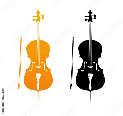 Fotografie, Tablou Icons of Cello in golden and black colors - orchestra strings music instrument in vertical pose, Vector Illustration isolated on white background