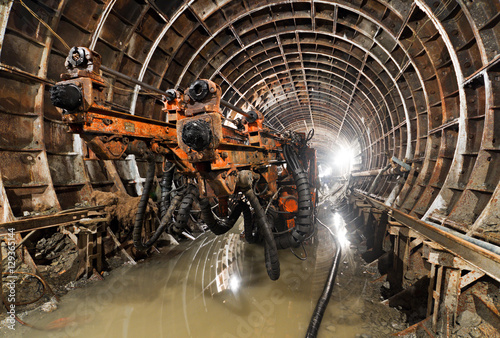Drilling machine in the tunnel. Subway tunnel in construction Canvas-taulu