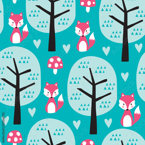 Cotton fabric seamless fox in the forest pattern vector illustration