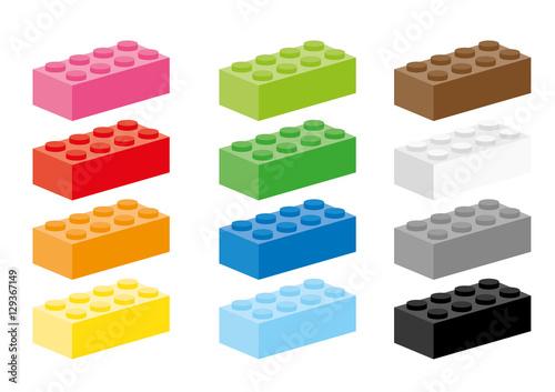 Photo Twelve creative building block in different colors