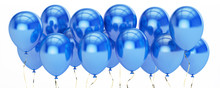Row From Blue Party Balloons, 3D Rendering