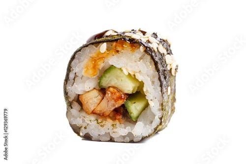 Photo sur Aluminium Sushi bar Japanese roll rice, nori, cucumber, eel sauce. Close-up on white