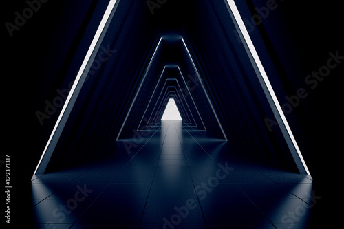 Dark corridor interior Canvas Print