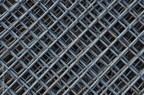 Steel bars reinforcement on construction site, Grid of Steel bar for background Canvas Print