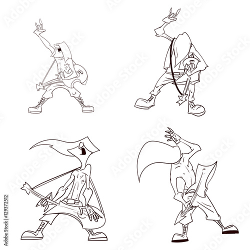 Photo  Line drawing vector illustration of a heavy metal musicians, guitarists
