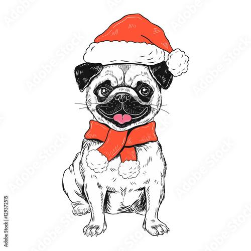 Fotobehang Art Studio Funny christmas pug dog vector illustration