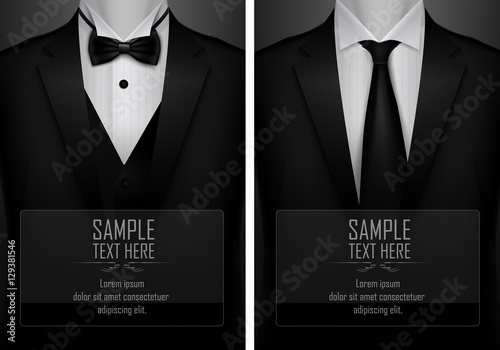 Fotografie, Obraz  Set of business card templates with suit and tuxedo and place for text for you