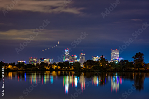 Photo Stands Denver, Colorado as seen from Sloans Lake