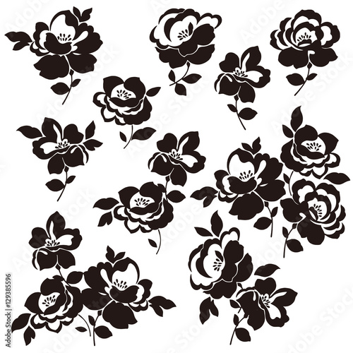 Foto op Canvas Bloemen zwart wit 花のイラスト素材