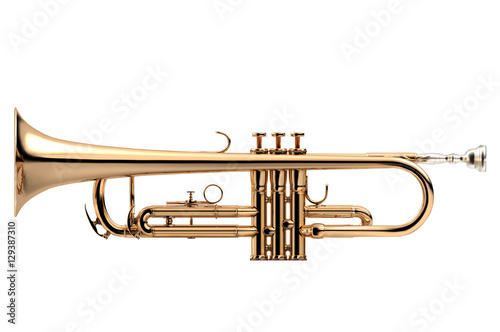 Stampa su Tela Trumpet classical instrument isolated on white