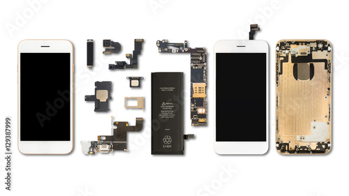 Smartphone components isolate on white