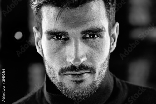 Black and white photo of handsome man