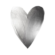 Vector Foil Paint Heart On White Background. Love Concept Design Happy Valintinas Day. Easy To Use And Edit.