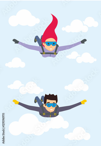 Fotografie, Obraz  Skydiver man and woman flying in the blue sky