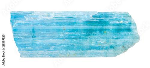 Aquamarine (blue beryl) crystal isolated
